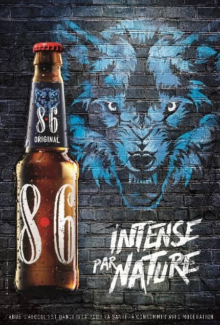 Photo de l'affiche publicitaire de la bouteille 8.6