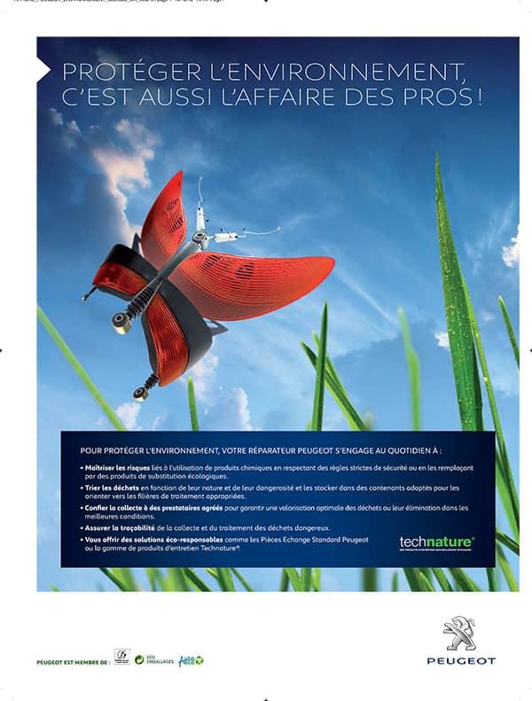 Affiche publicitaire environnement Peugeot